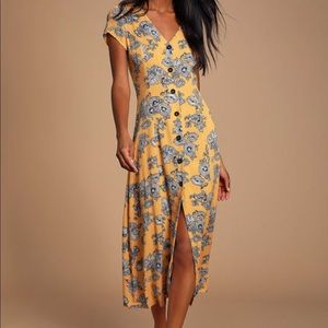Yellow Floral Print Button Front Midi Dress